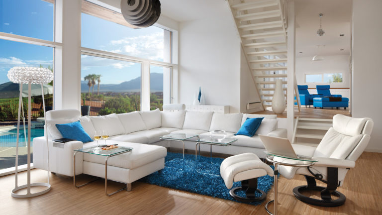 White and Blue Modern Living Room Image