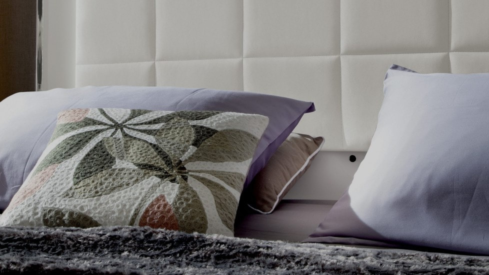 Purple and White Modern Bedroom Pillows