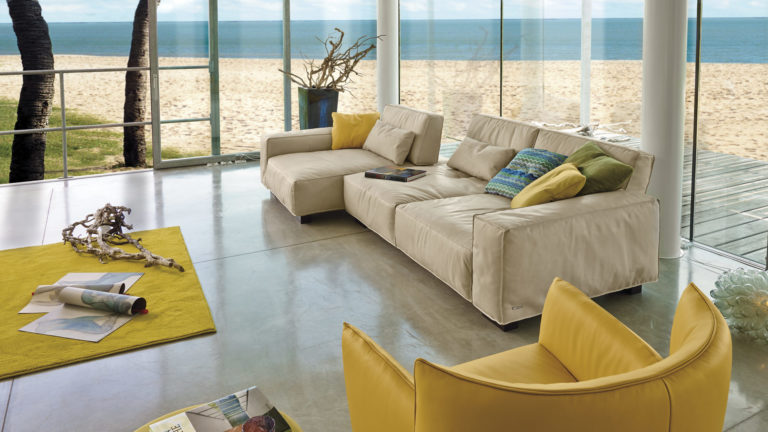 Yellow and Beige Modern Living Room Image