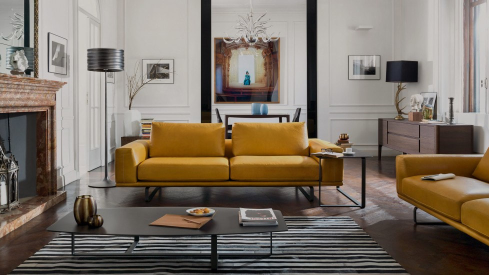 Modern Living Room with Yellow Leather Sofa