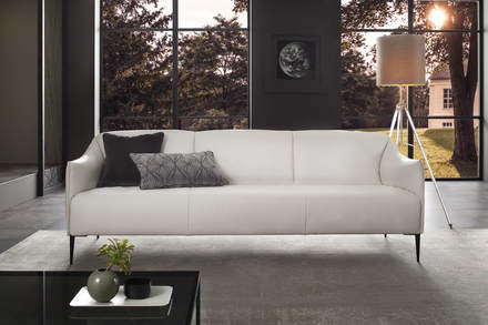 White leather modern sofa
