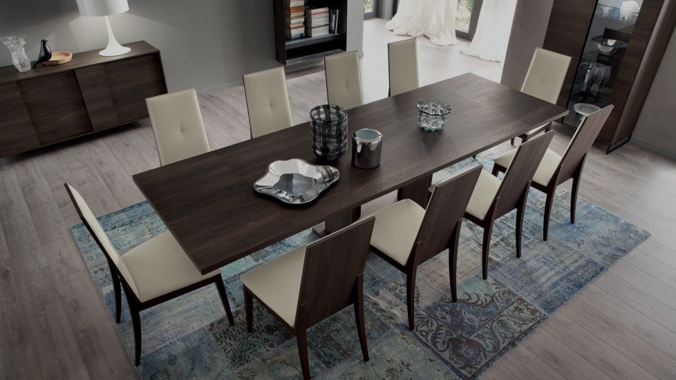 Modern Dining Table with Blue Rug